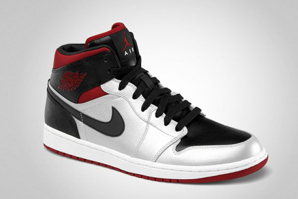 air jordan 1 mid metallic platinum/black-gym red cross