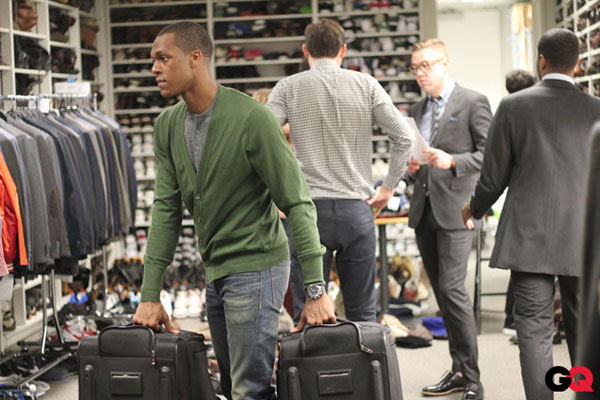 Rajon Rondo interning at GQ during Fall Fashion Week in NYC