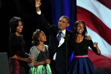 President Barack Obama and family celebrate reelection.