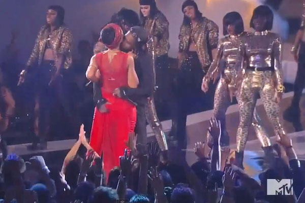 A$AP Rocky gets a handful of Rihanna's backside at the 2012 MTV VMAs.