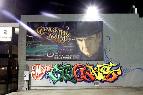 Mister Cartoon's Gangster Squad billboard at Platinum Motorsports in LA.