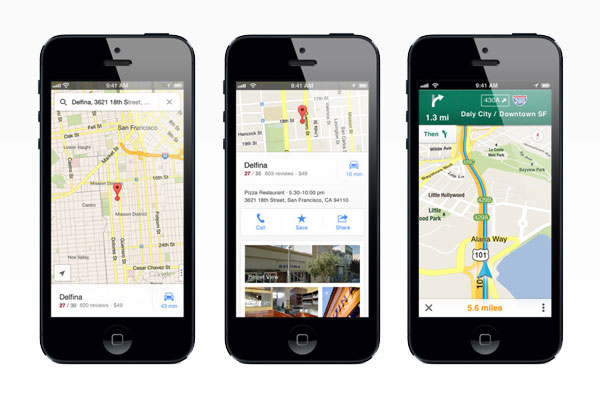 Google Maps app for the iPhone.