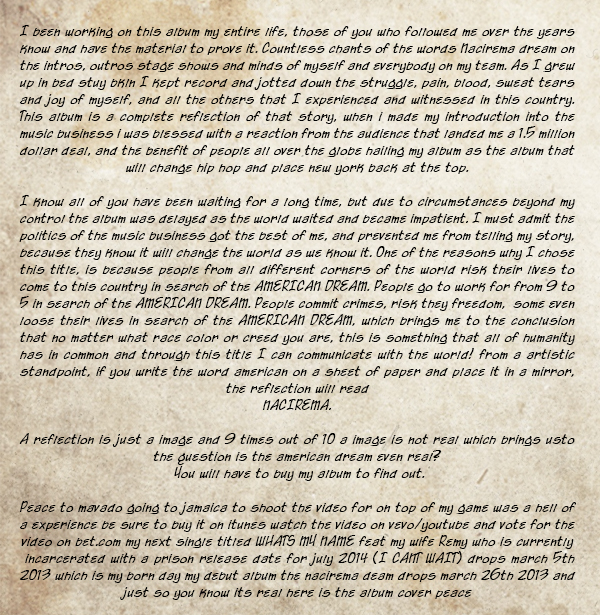 Papoose - The  Nacirema Dream - Open Letter