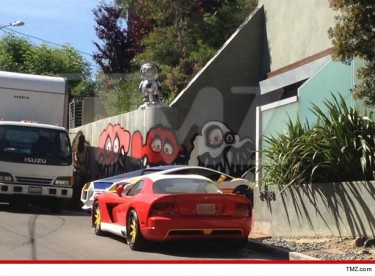 Art on Chris Brown's Hollywood Hills home.