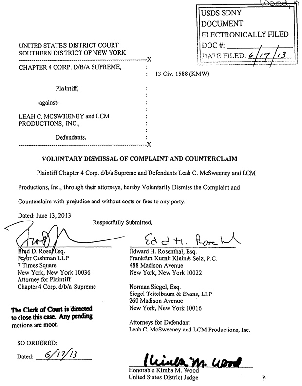 Supreme Files Motion To Dismiss Married To The Mob Lawsuit