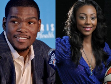 OKC star Kevin Durant and WNBA's Monica Wright