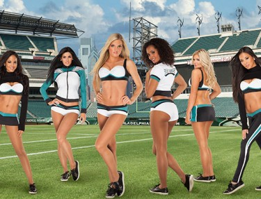 Philadelphia Eagles cheerleader uniforms by Vera Wang