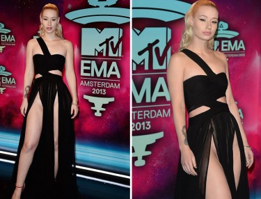 Iggy Azalea wardrobe malfunction at MTV EMAs.