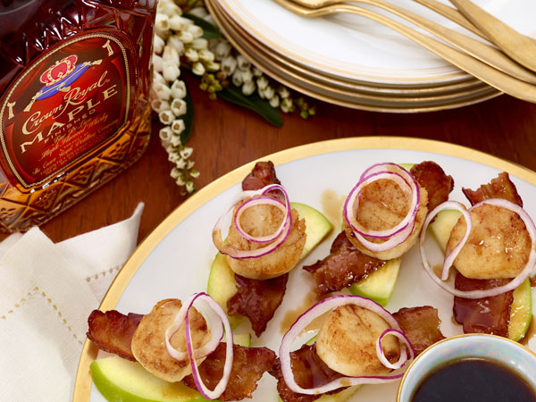 Maple Bacon, Scallop, and Apple Stacks