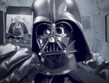 Darth Vader takes a selfie.