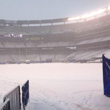 Snow Covers MetLife Stadium After Super Bowl LVIII