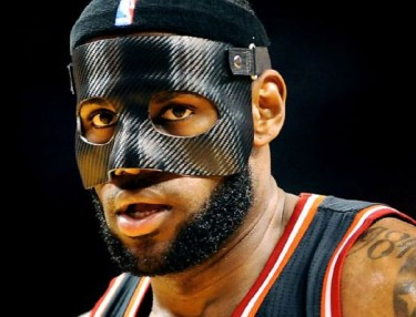 LeBron James' black, carbon-fiber mask.