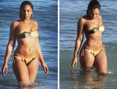Ashanti shows bikini bod in Malibu, CA