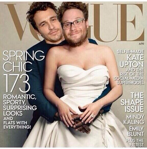 James Franco and Seth Rogen spoof Kanye and Kim's Vogue cover.