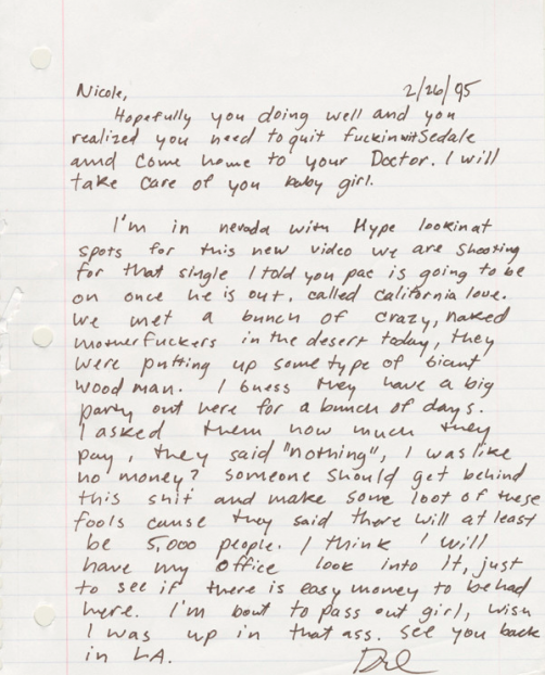 Dr. Dre's 1995 Letter To Girlfriend Is Classic | BallerStatus.com