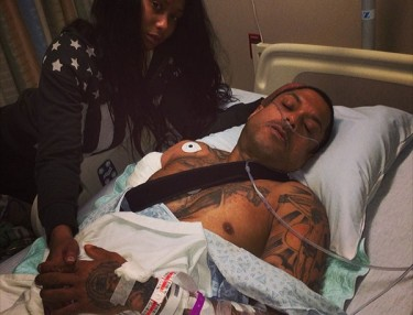 Benzino in hospital after being shot.