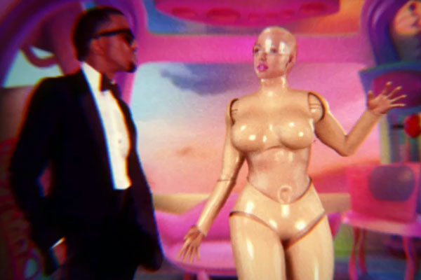 Kanye West and Amber Rose in 'Robocop' video