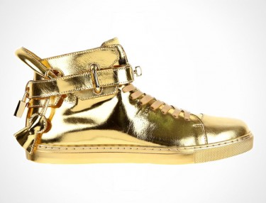 Buscemi 100 mm High Top Gold Sneaker