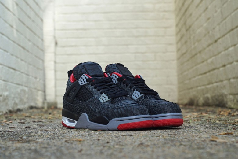 Air Jordan 4 Bred Black Sueded Python By JBF Customs