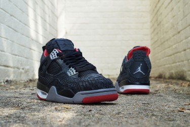 Air Jordan 4 Bred Black Sueded Python By