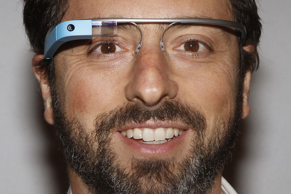 Google co-founder Sergey Brin wearing Glass