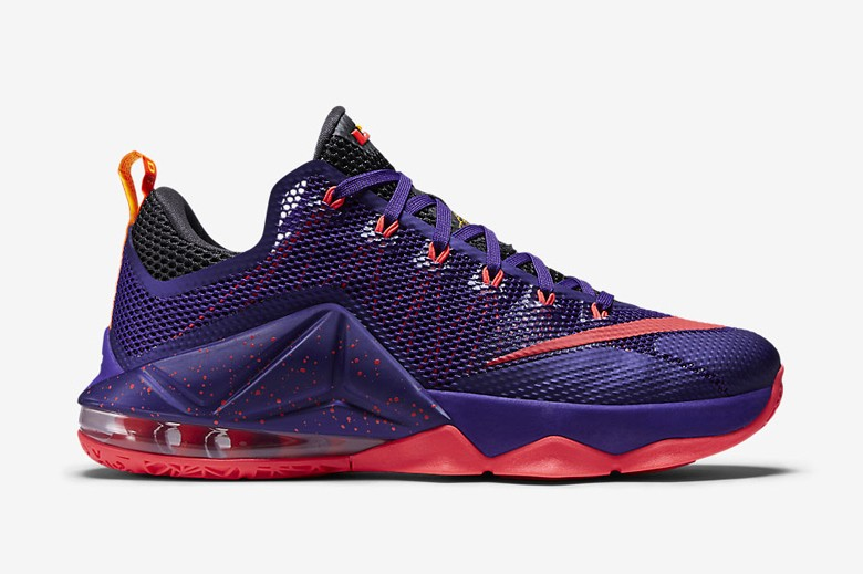 Lebron 12 Low Raptors Mens Shoe Purple Crimson Nike Footwear