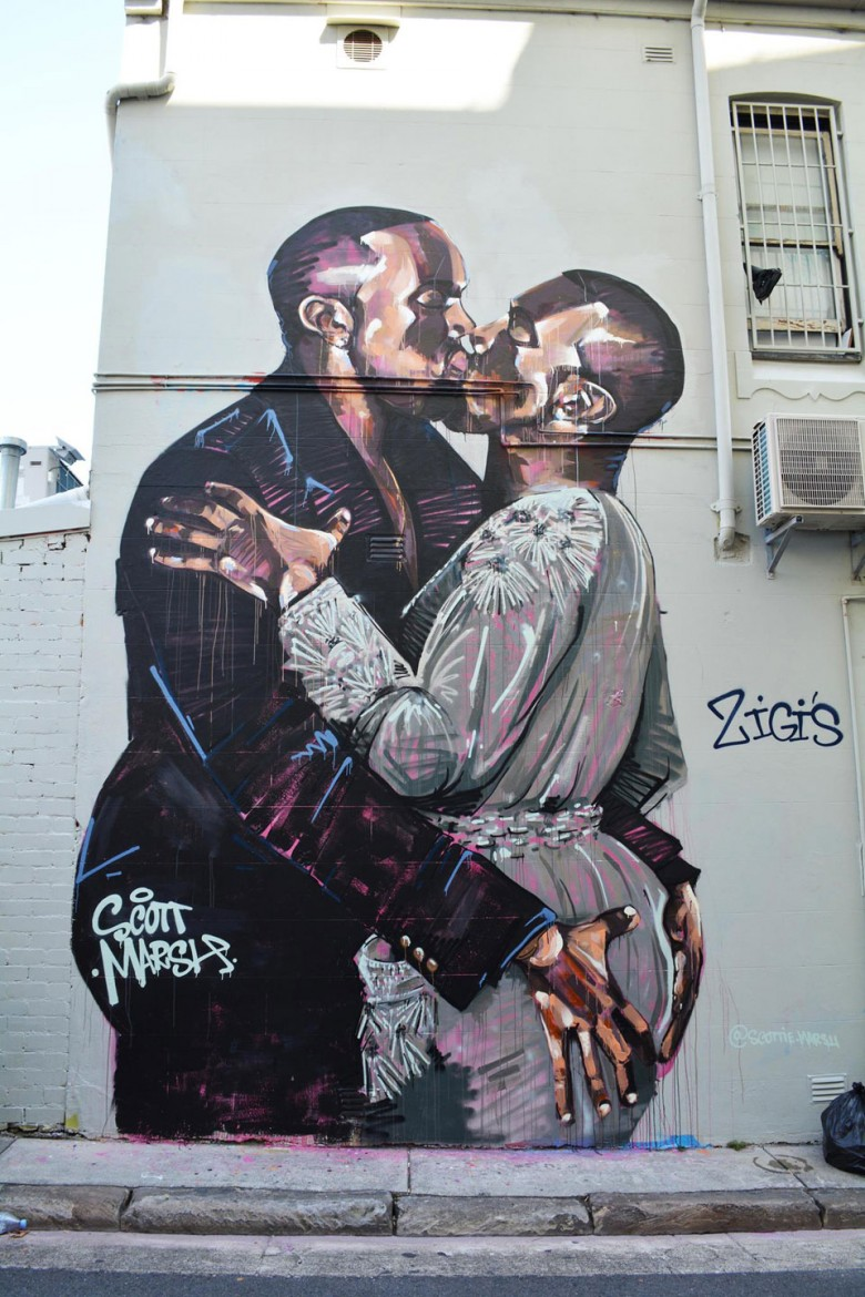 Kanye kissing Kanye by Scott Marsh