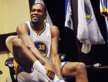 Kevin Durant in Golden State Warriors Uniform