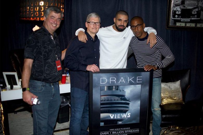 Drake with Tim Cook