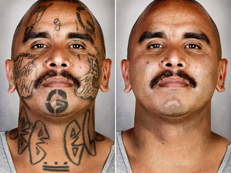 Photographer removes gang members 39 tattoos in portrait for Tattoo mole on face