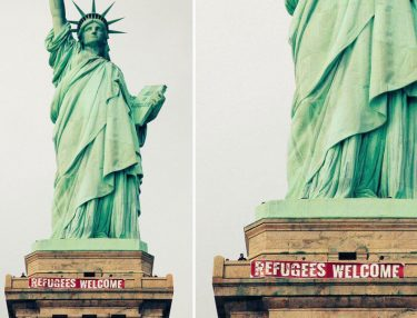 Refugees Welcome Banner hung on Statue of Liberty