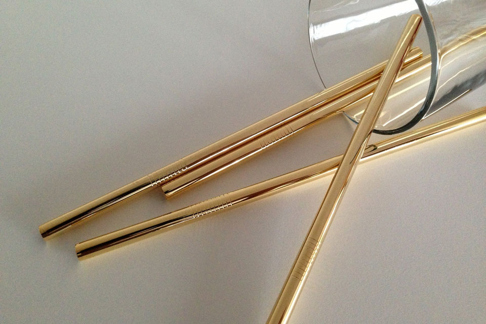 24K Gold Smoothie Straws