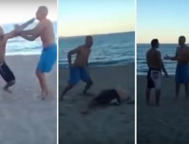 Young Punk Messes With Wrong Girls, Daddy Knocks Him Out (Video)