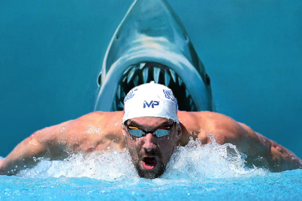 Michael Phelps Race a Great White Shark