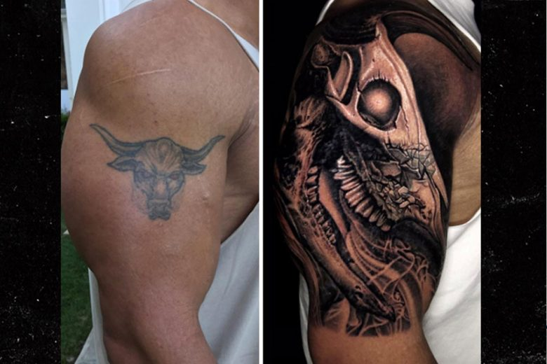 human skull with ram horns tattoo