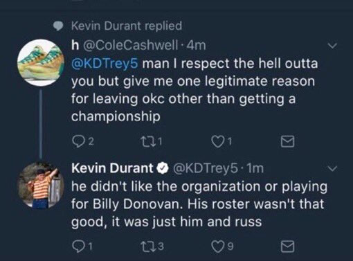 Did Kevin Durant expose his Thunder-bashing Twitter account?