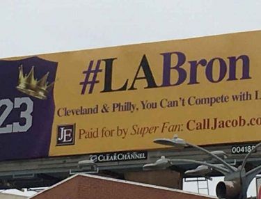 LeBron James fan Lakers billboard
