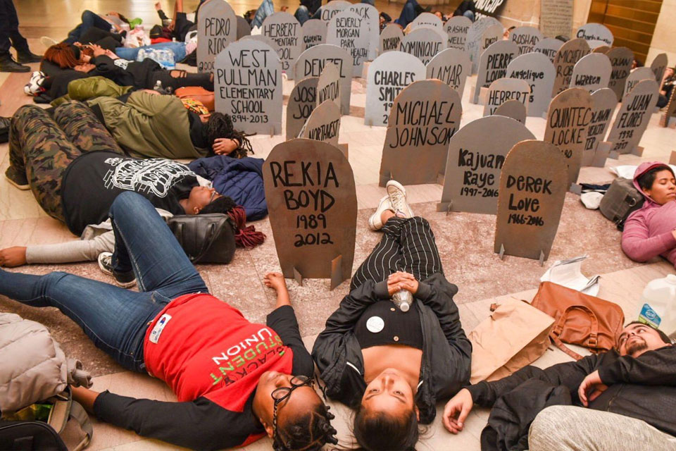 Chicago Students Protest at City Hall with a Die-In
